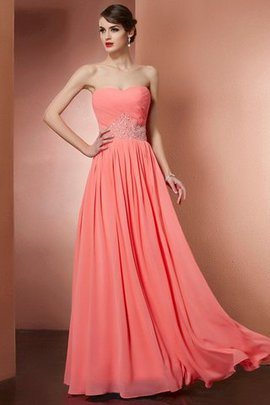 A-Line Zipper Up Beading Floor Length Strapless Prom Dress