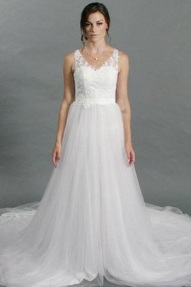 Court Train Outdoor Embroidery A-Line Lace Wedding Dress