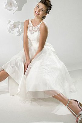 Sashes A-Line Simple Tea Length Organza Wedding Dress