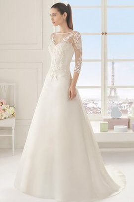 3/4 Length Sleeves Simple Elegant & Luxurious Sweep Train Lace Fabric Wedding Dress
