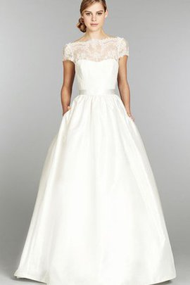 Capped Sleeves Vintage Long Simple Bateau Wedding Dress