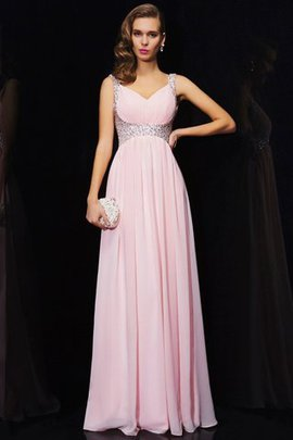 Long V-Neck Wide Straps Floor Length Chiffon Evening Dress