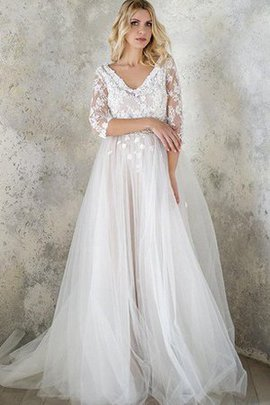 Sequined V-Neck Half Sleeves Button Appliques Wedding Dress