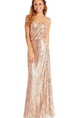 Simple Sleeveless Sequins Floor Length Sheath Bridesmaid Dress