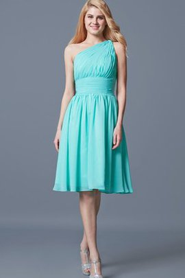 Natural Waist Chiffon A-Line Zipper Up Ruched Bridesmaid Dress