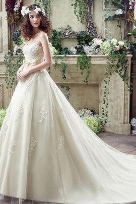 Natural Waist Demure Church Appliques A-Line Wedding Dress