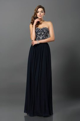 A-Line Zipper Up Long Chiffon Empire Waist Evening Dress