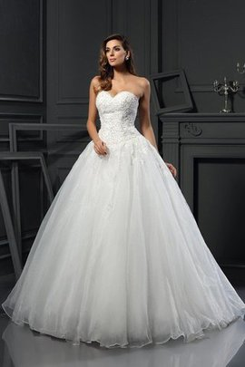Beading Sweetheart Tulle Sleeveless Empire Waist Wedding Dress