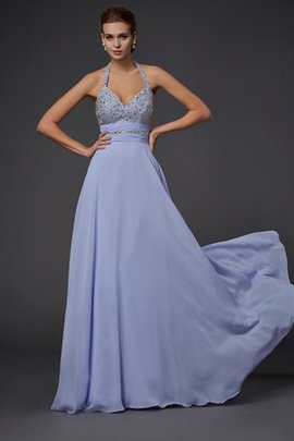 A-Line Empire Waist Chiffon Long Beading Prom Dress