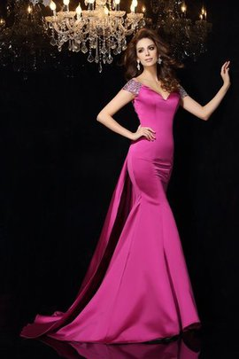 Mermaid Sleeveless Long Court Train Beading Evening Dress