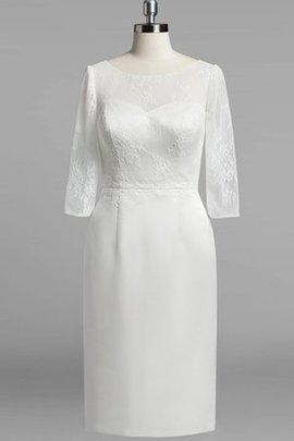 3/4 Length Sleeves Sheath Scoop Lace Satin Wedding Dress
