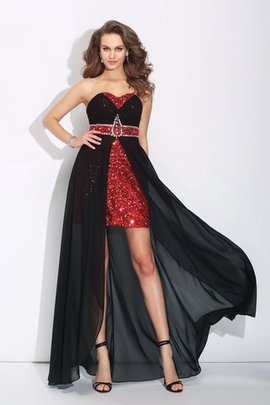 Sweetheart Chiffon A-Line Zipper Up Asymmetrical Prom Dress
