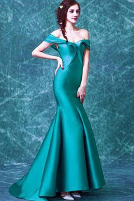 Zipper Up Sweep Train Mermaid Off The Shoulder Evening Dress