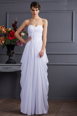 Natural Waist Pleated Floor Length Sweetheart Chiffon Evening Dress