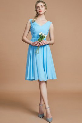 V-Neck A-Line Sleeveless Ruched Natural Waist Bridesmaid Dress