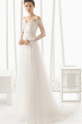 A-Line Sleeveless Off The Shoulder Lace Fabric Elegant & Luxurious Wedding Dress
