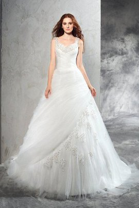 Court Train Natural Waist Wide Straps Ball Gown Wedding Dress