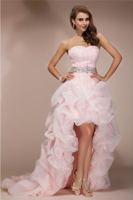 Zipper Up Natural Waist A-Line High Low Homecoming Dress