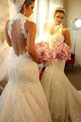 Court Train Mermaid Sleeveless Natural Waist Lace Wedding Dress