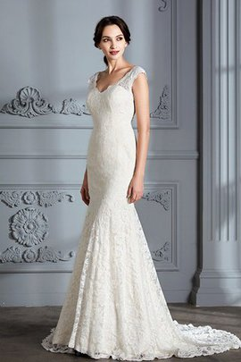 V-Neck Natural Waist Sleeveless Lace Mermaid Wedding Dress