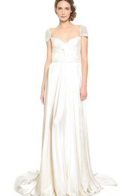 Long Queen Anne Beach Satin Short Sleeves Wedding Dress