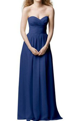 Zipper Up Sweetheart Floor Length Chiffon A-Line Bridesmaid Dress