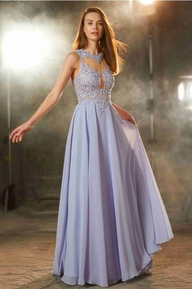 Chiffon Natural Waist Floor Length Scoop A-Line Evening Dress
