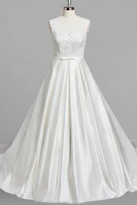 Beading Floor Length V-Neck Zipper Up Natural Waist Wedding Dress