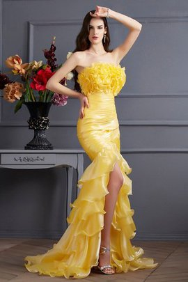 Long Sleeveless Ruffles Zipper Up Sweep Train Evening Dress