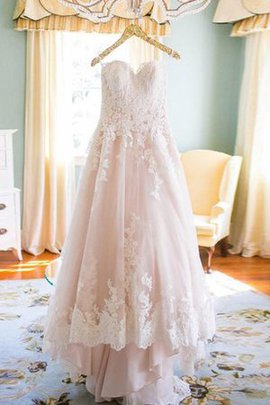 High Low Lace Fabric Elegant & Luxurious Court Train Pleated Wedding Dress