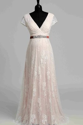 Capped Sleeves Simple Floor Length Pleated Romantic Wedding Dress