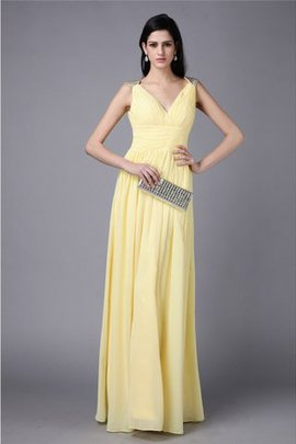 Floor Length V-Neck Long Sheath Natural Waist Prom Dress
