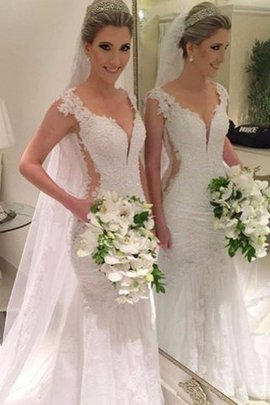 V-Neck Natural Waist Sleeveless Lace Sweep Train Wedding Dress