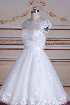 Short Sleeves Scoop Lace Fabric Capped Sleeves Short Wedding Dress
