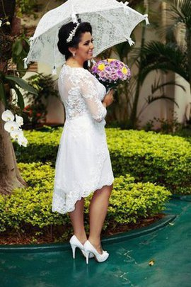 Lace Fabric 3/4 Length Sleeves Romantic Plus Size Informal & Casual Wedding Dress