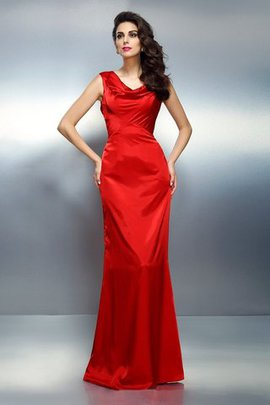 V-Neck Sleeveless Mermaid Silk Like Satin Empire Waist Evening Dress