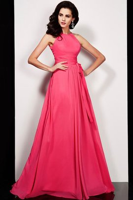 A-Line High Neck Sleeveless Draped Prom Dress