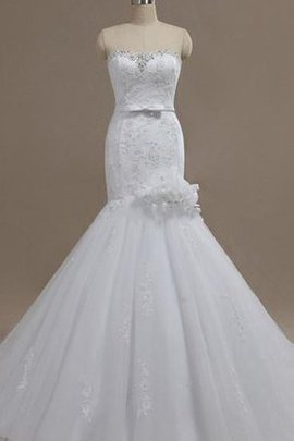 Organza Mermaid Lace Ruffles Sleeveless Wedding Dress