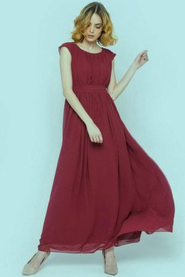 Scoop Capped Sleeves Chiffon Pleated Zipper Up Bridesmaid Dress