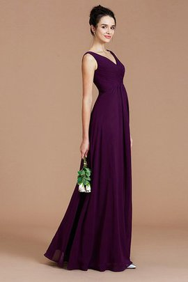 Sleeveless Chiffon Natural Waist V-Neck Princess Bridesmaid Dress