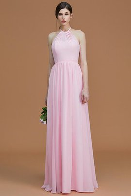 Chiffon Zipper Up A-Line Floor Length Ruched Bridesmaid Dress