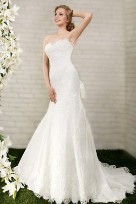 Court Train Bow Mermaid Floor Length Lace-up Wedding Dress
