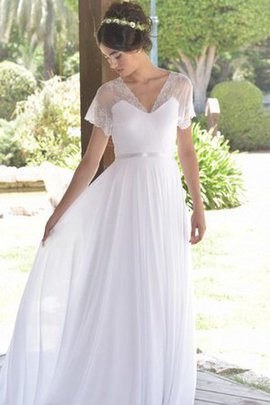 Pleated Lace Sweep Train Short Sleeves Wedding Dress