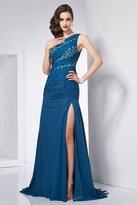 Sweep Train A-Line Sleeveless Chiffon One Shoulder Evening Dress