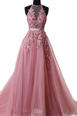 Sweep Train Tulle Marvelous Natural Waist Sleeveless Lace-up Halter Prom Dress