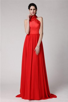Halter Sheath Pleated Elastic Woven Satin Zipper Up Bridesmaid Dress