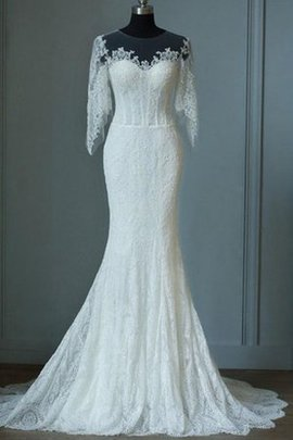 Half Sleeves Elegant & Luxurious Lace Fabric Romantic Zipper Up Wedding Dress