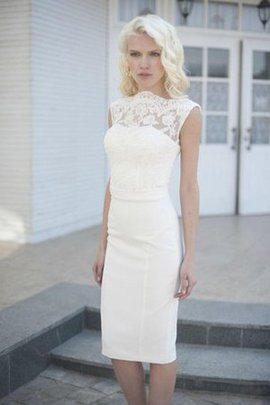 Short Sleeves Sheath Natural Waist Zipper Up Chiffon Wedding Dress