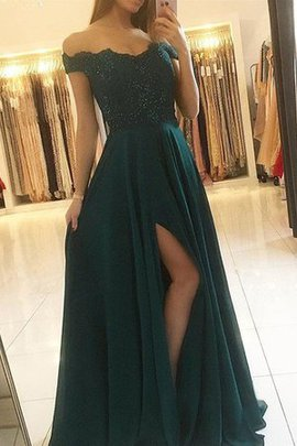 A-Line Sleeveless Beading Off The Shoulder Princess Unique Natural Waist Prom Dress