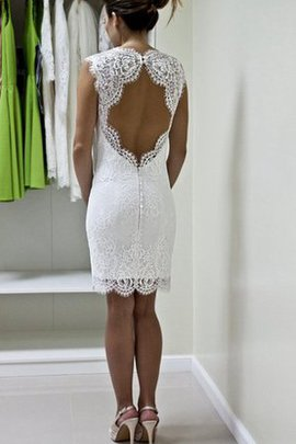 Appliques Button Queen Anne Deep V-Neck Informal & Casual Wedding Dress